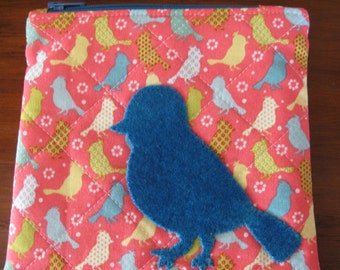 Zipper Bag, Birds, Coin purse size, Small Bird in Wool Applique, Aqua Lining