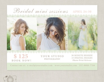 Bridal Mini Session Template - Photography Marketing Board 052 - C189, INSTANT DOWNLOAD