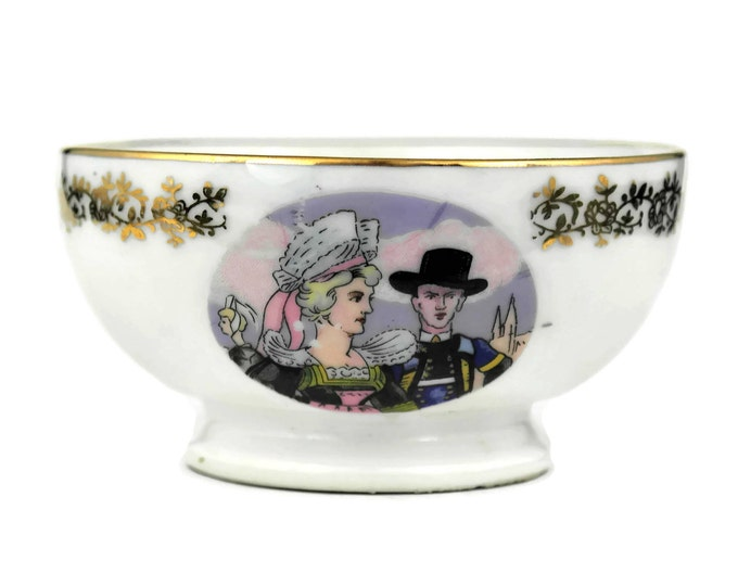 French Coffee Bowl with Breton Man and Woman.