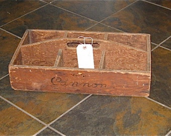 Vintage Wooden Berry Carrier with Six Containers - Strawberry Crate - Industrial - Rustic - Primitive - Storage Box - Planter Display
