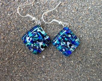 Blue and Aqua Tide-pool Inspired Dichroic Glass Earrings