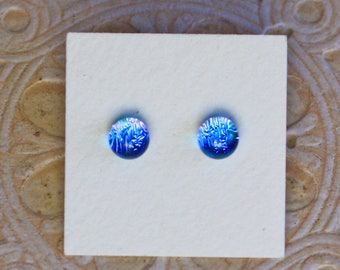 Dichroic Glass Earrings, Petite, Blue Violet  DGE-1234