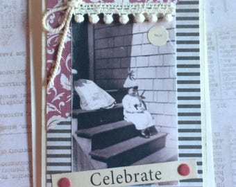 NEW Handmade Birthday Card Featuring Vintage Photo Little Girl on Porch in Party Hat