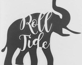 Roll Tide Alabama Elephant Decal Sticker Crimson or Grey
