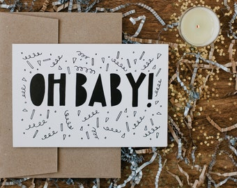 """New Baby 4""""x6"""" Greeting Card - Oh Baby!"""