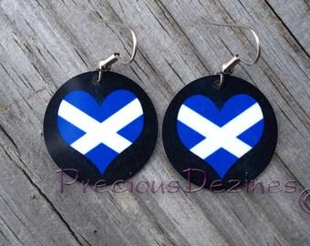 Scottish Flag design earrings. High quality image printed on metal earrings. Scottish Flag. Heart shaped Scottish flag
