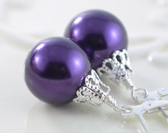Grape Purple Earrings, Large Glass Pearls, Christmas Balls, Silver Plated Lever Earwires, Fun Holiday Jewelry
