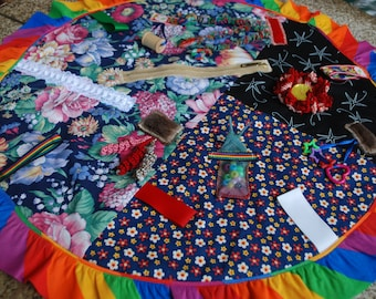 Fidget Quilt for Dementia, Alzheimer's and others.Busy blanket/activity blanket/circle blanket