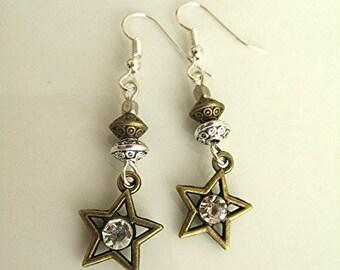 Earrings star earrings rhinestone earrings dangle earrings goth earrings witchy earrings bronze tone earrings gift for her.