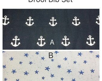 Drool bib and strap covers for front facing baby wearing forBeco, Boba, Ergo, Lillebaby with choice of nautical fabric