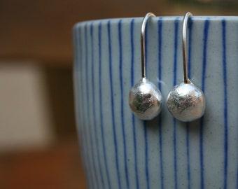 Long sterling silver pebble earrings, Recycled silver earrings, long drop earrings, recycled drop earrings, silver drop earrings
