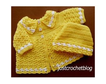 Crochet Coat and Ski Hat Baby Crochet Pattern (DOWNLOAD) 16pBFJC