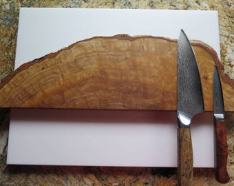 "19"" Mediterranean olive wood burl magnetic knife holder, knife rack, with mounting hardware handmade, exotic wood"