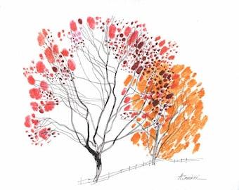 ORIGINAL LANDSCAPE DRAWING 8X10  tree ink drawing, pen line art, handmade, fine art, modern drawings, tree sketch, original drawings