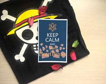 """Print of """"Keep calm and join the Heart Pirates"""" 10 cm x 15 cm (A6) on matte photographic paper, design inspired by One Piece"""