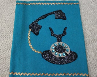Vintage Felt Sequined Phone Book Cover Peacock Blue