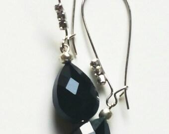 Black Onyx Crystal Tear Drop Earrings