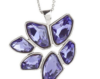 Abstract Tanzanite Floral Pendant Necklace Encrusted With Swarovski Crystals