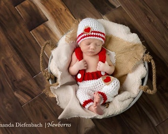 Newborn Photo Prop/Valentines Day Newborn Prop/ Red and White Prop/ Gender Neutral Prop/ Baby Shower Gift/ Baby Boy Gift/ Crochet Newborn