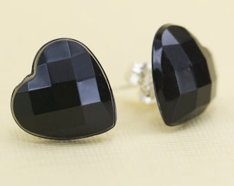 Vintage Black Faceted Heart Button Post Earrings