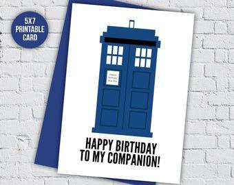 Doctor who card, tardis birthday,whovian birthday,doctor who companion,happy birthday,Doctor Who gift,geek birthday gift,geek birthday card