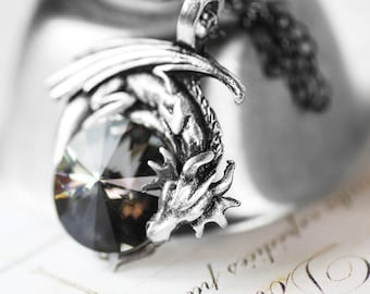 Dragon Necklace - Swarovski Crystal with Pewter Pendant and Oxidized Sterling Silver Necklace Game of Thrones Dragons