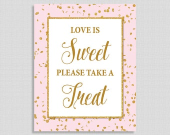 Love Is Sweet Please Take a Treat Shower Table Sign, Pink & Gold Glitter Bridal Shower Sign, Favor Sign, INSTANT PRINTABLE