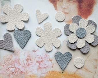 11 cut-outs in the shape of flowers and hearts, leather and faux leather craft leather crafts, textile arts, scrapbooking, 1141