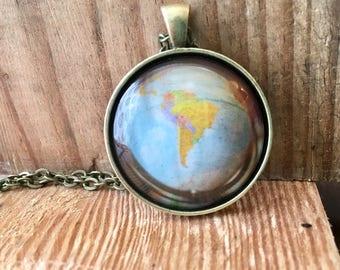 South America Globe Pendant Necklace Map World Travel Wanderlust Gift for Traveler Earth Nation