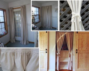 Natural Cotton Curtain Farmhouse Ruffled Curtain Cotton Drapery Panel Rustic Cotton Drapes French Country Custom Made  Sold Separately