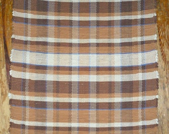 Handwoven Rag Rug, Original Pattern HIGHLAND - Earthtones (Inv. Id #18-0661)