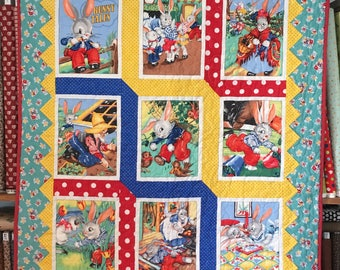 "Peter Rabbit Baby Quilt with Prairie Points finished size 35"" x 42"""