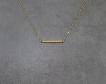 Dainty Gold Shiny Straight Bar Necklace Charm Stylish Pendant Necklace in Gift Box