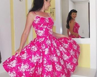 Pinup dress 'Rockabilly Summer Pink Floral', very full skirted rockabilly dress, 50s style pinup dress