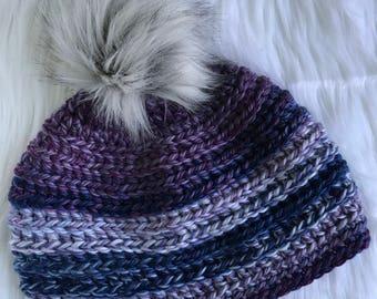 Chunky Crochet Beanie with Faux Fur Pom Pom - Purple // Gray