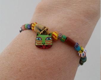 Cat Bracelet African Bead Bracelet Cat Charm Bracelet African Jewelry African Christmas Bead Jewelry African Trade Beads Cat Jewelry Stretch