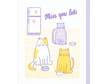 Miss You Cats Letterpress Card