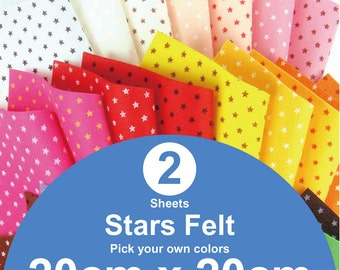 2 Printed Stars Felt Sheets - 20cm x 20cm per sheet - Pick your own colors (S20x20)