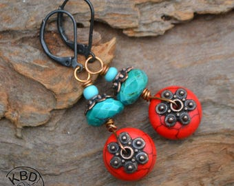 Faceted Turquoise and Red Turquoise earrings