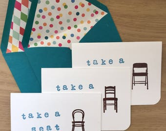 Take a Seat! Cards for sharing BIG NEWS! (set of 6)