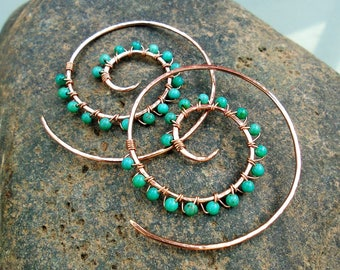 Solid Copper-14K Rose Gold-Turquoise-Swirl-Spiral-Earrings-Customized / Free US Shipping