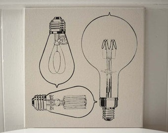Vintage Light Bulbs silk screened wall hanging 16x16 inch black