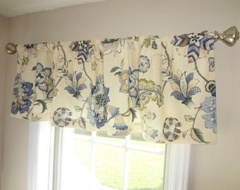 Curtain Valance Topper Window Valance 52x15 Navy Blue Green Beige Ivory Floral Valance