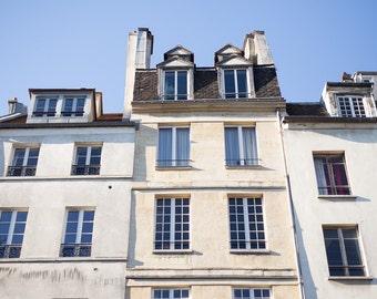 Paris Photography, Parisian Buildings on a Sunny Day, Paris Print, Home Decor, Paris Decor, Blue Skies in Paris