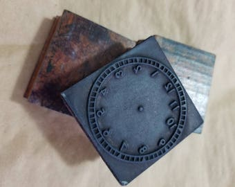 SALE! Cool as Flip Vintage Wooden Clock Face Stamps! Old classroom supply. Great patina.  Set of 3