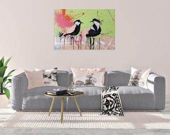 Birds Print ,Living Room Art ,Nature Art Painting ,Wood Print ,Giclee Print Of An Original Oil Painting On Wood #550BD