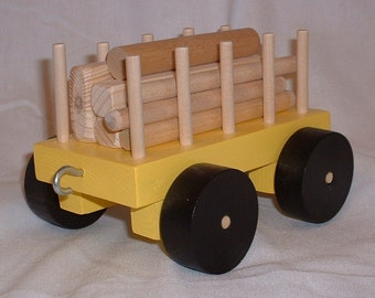 Toy Train Log Car in Yellow or Blue - Handcrafted Wooden Toy Train Log Car in Yellow or Blue - Select your color of either yellow or blue
