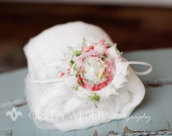 Shabby Rose Headband, Red Baby Headband, White Newborn Prop Set, White Baby Prop, Newborn Photo Prop
