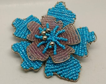 Vintage Large Beaded Turquoise Flower Brooch