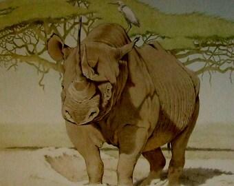 Allan Ryan artist Standing Ground limited edition rhinoceros print 1980 Wildlife outdoor art